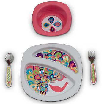 Entrées 4-Piece Feeding Set - Pretty Peacocks