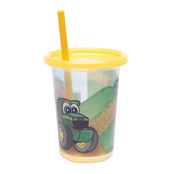 John Deere Take & Toss 10oz Straw Cups -  3-pack